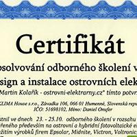 Certifikát Dizajn a inštalácia ostrovných elektrárni