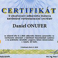 Certifikát Batériové fotovoltaické systémy