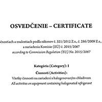 Certifikát Práce na zariadeniach s halogénovým chladivom